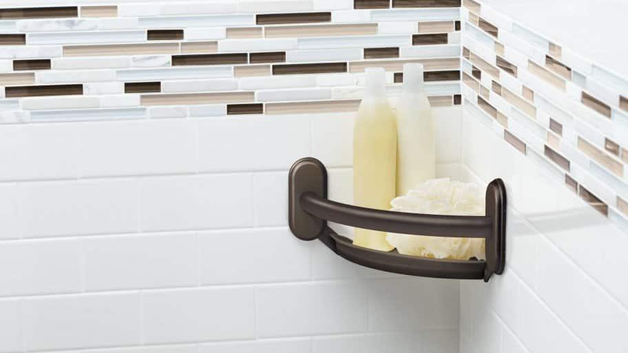 Soap Dish In Shower With Tile Backsplash