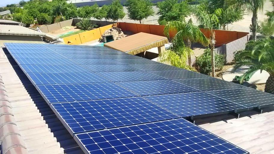 solar panel on roof