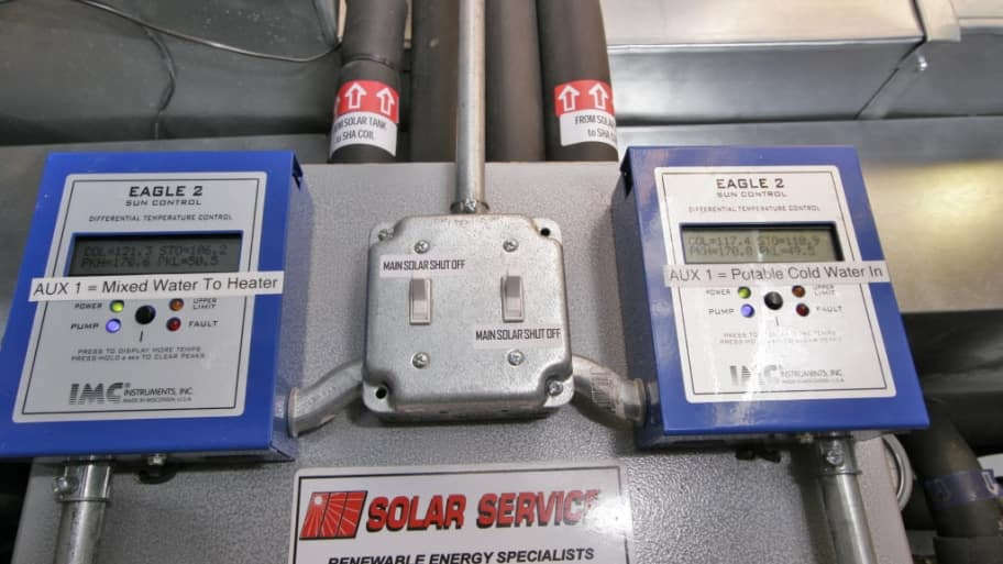 A solar water and air heating system