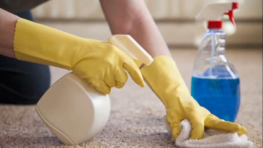 person using a spray cleaning solution on a carpet