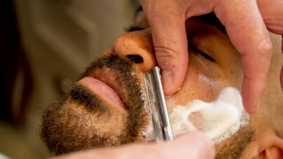 Man get's a straight razor shave