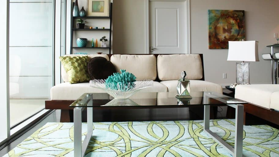 living room furniture and rug by window