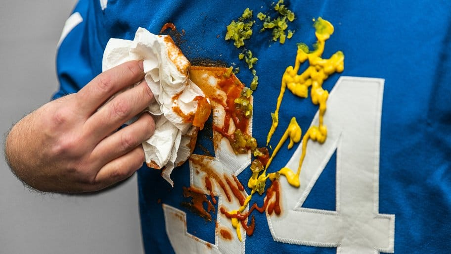 Football jersey with stains
