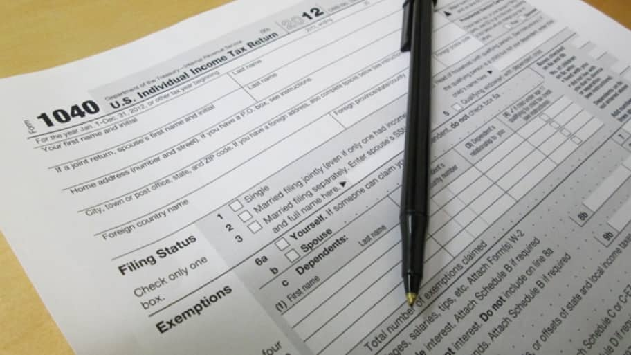 pen on tax form