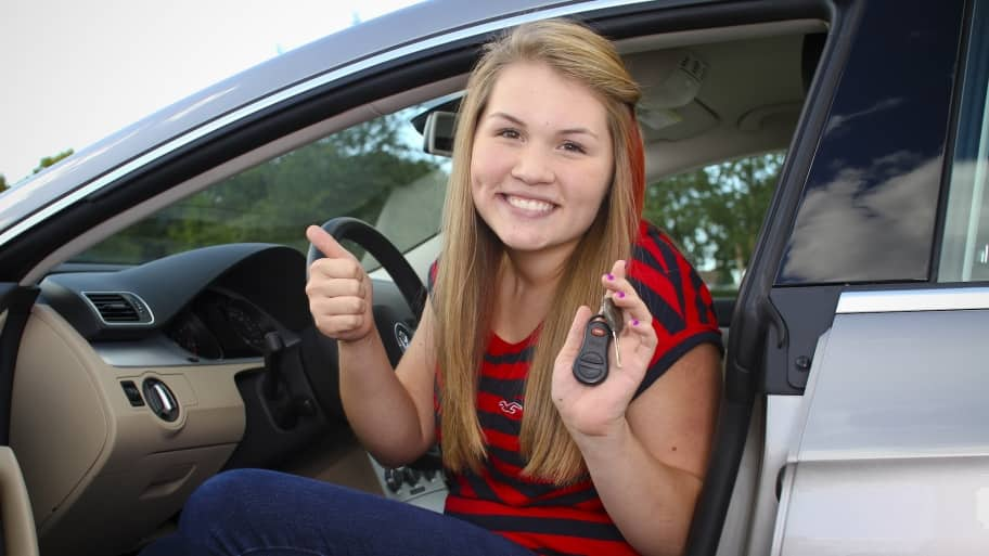 teen with first car