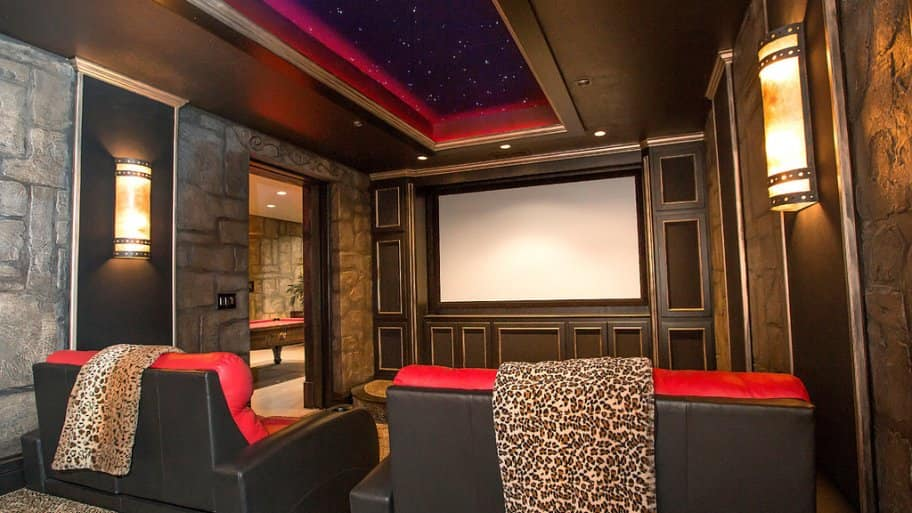 Home theater designed by Silver Crow Studios