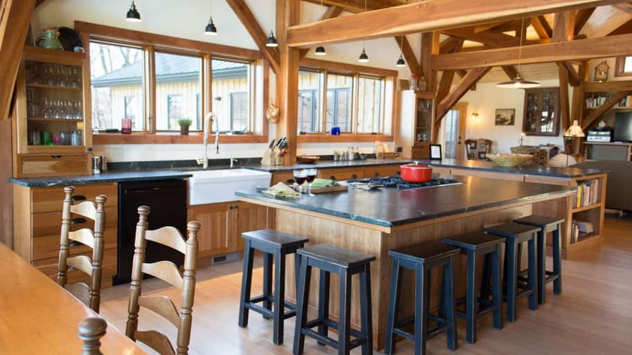 How Much Do Timber Frame Homes Cost To Build Rustic House Kitchen