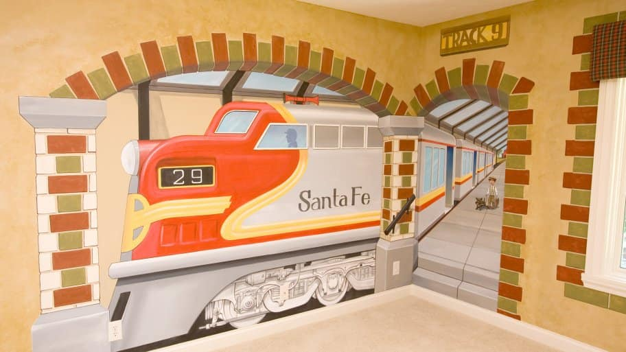 custom train mural in kid bedroom