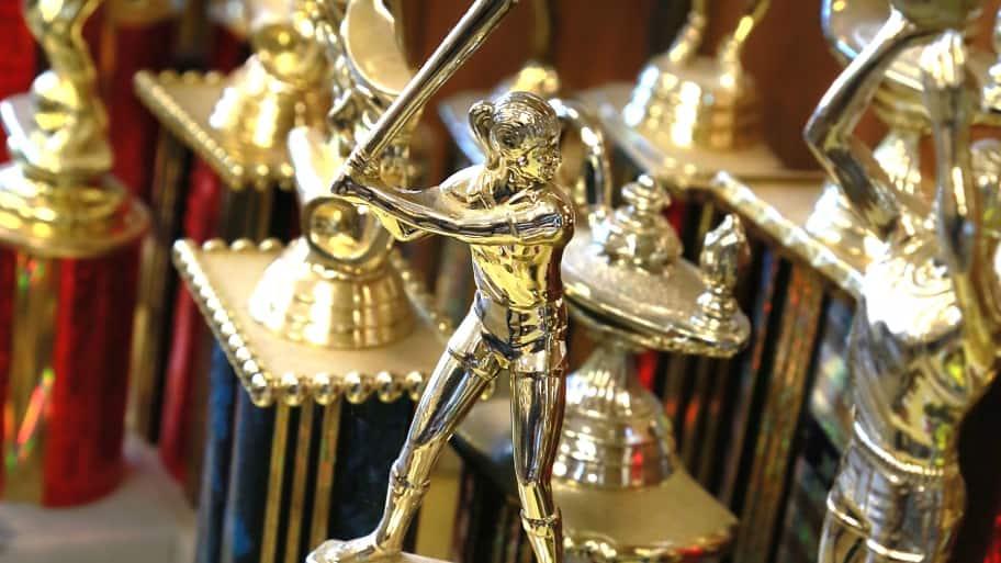 Trophies in trophy shop