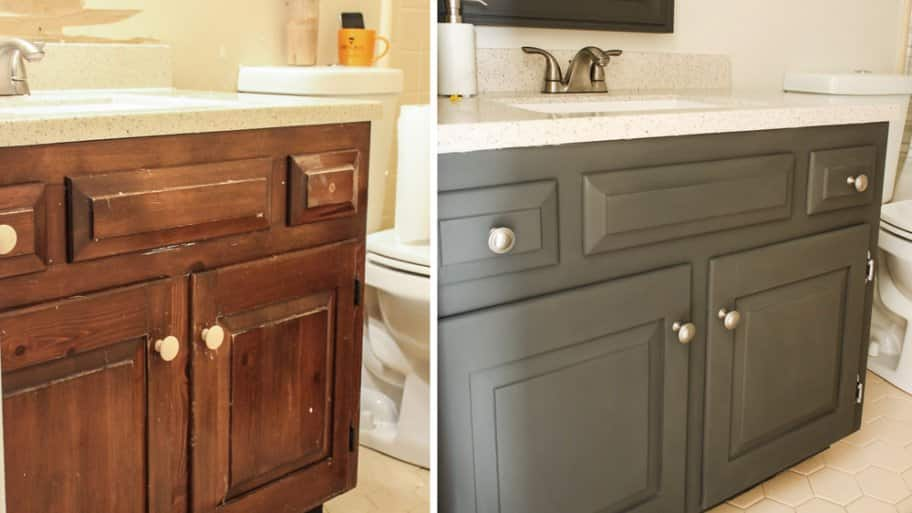 Painted Bathroom Cabinets Before And After how to paint a bathroom vanity | angie's list