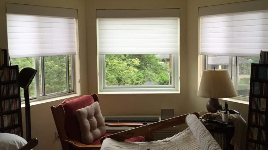 honeycomb shades in a sewing room