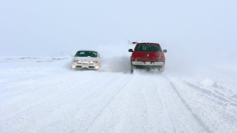 driving a car in a winter storm