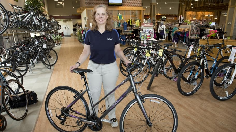 woman selling a bike