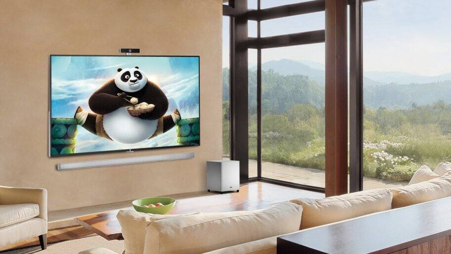 Lifestyle shot of a LeEco Super4 X-series 4K Ultra HD TV in living room, playing Kung Fu Panda.