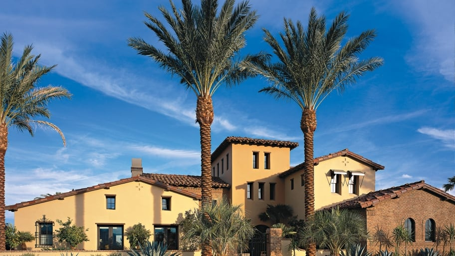 house with palm trees