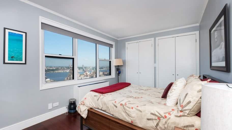 Bedroom overlooking city