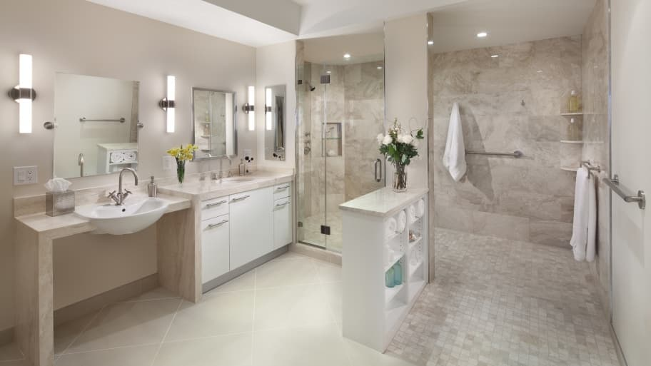 White And Tan Bathroom With Large Walk In Shower