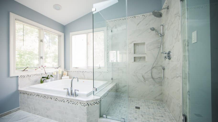Master Bath With Tub Shower Blue Gray And White Paint