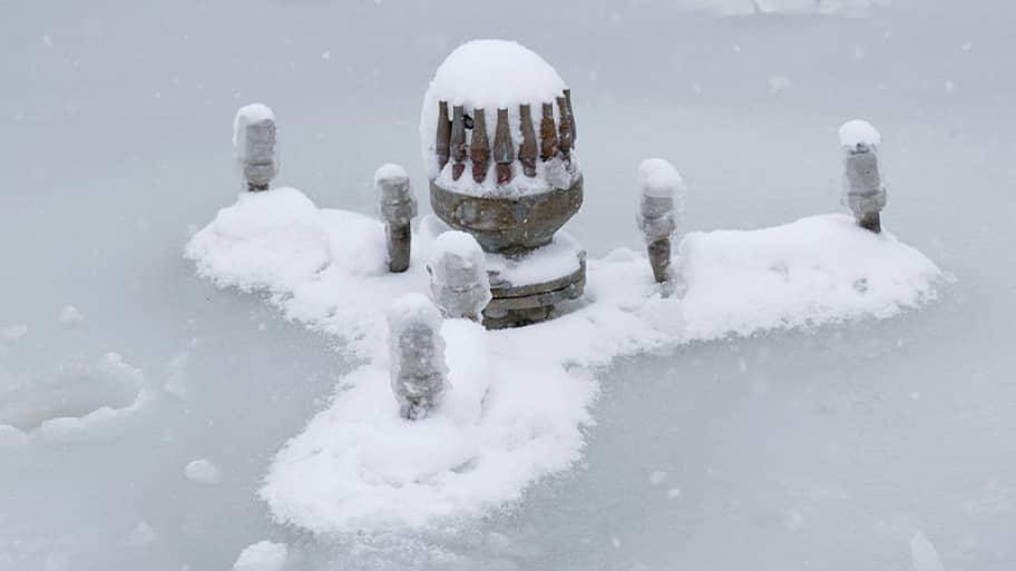 frozen fountain spout