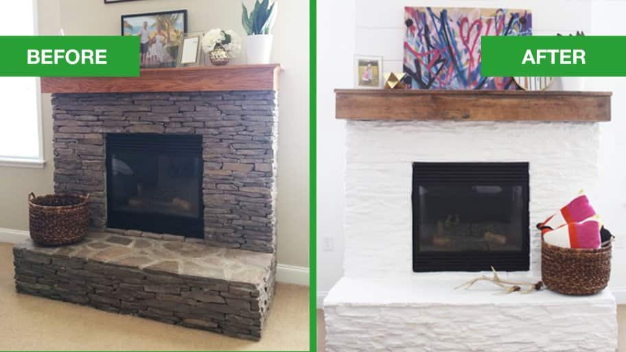 White Wash Brick Fireplace With Built In