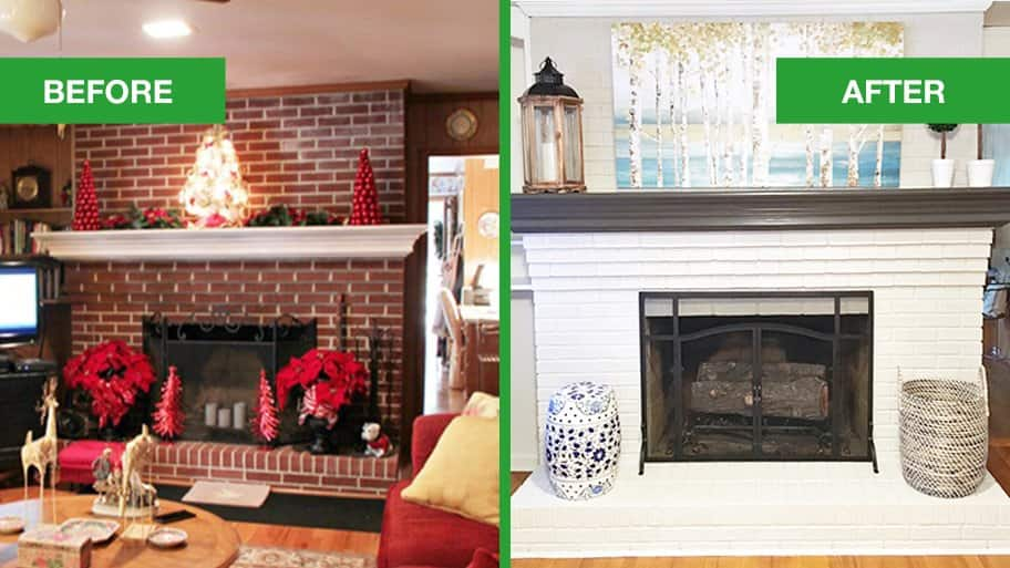 Dated Brick Fireplace Gets Painted White Before And After Makeover