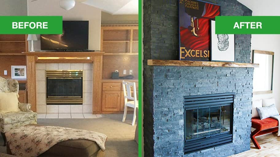 stacked stone fireplace makeover angie s list rh angieslist com before and after fireplace makeover ideas before and after fireplace makeover ideas