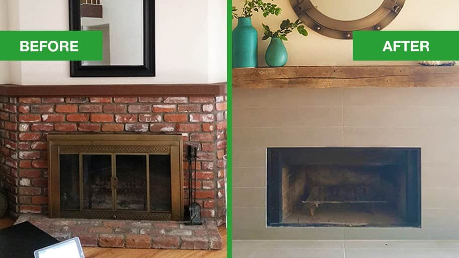 Dated Fireplace Mantel Turns To Rustic Modern Before And After Makeover