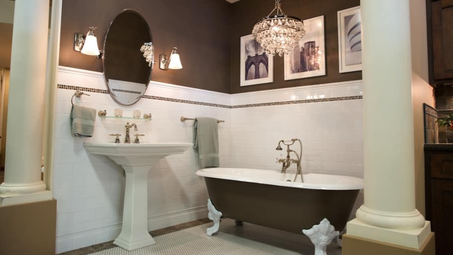 trendy bathroom remodel with claw foot bathtub