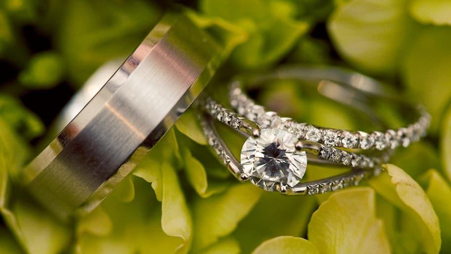 wedding rings diamond and husband band