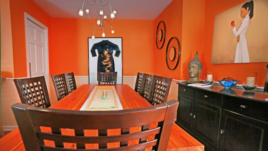 dining room painted bright orange