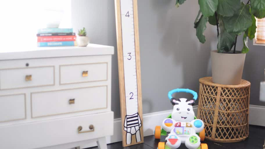 kids' room with DIY height chart