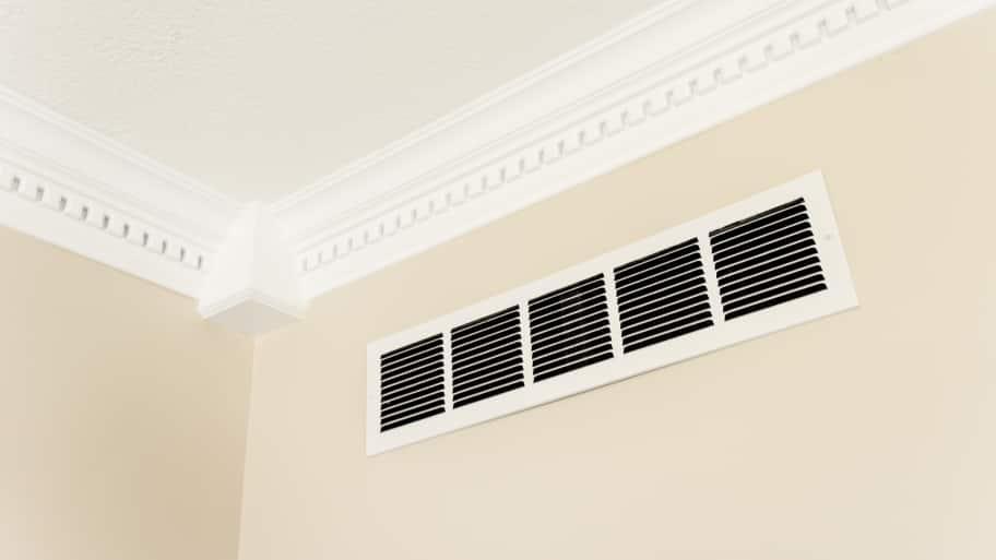 cold-air return vent near the ceiling