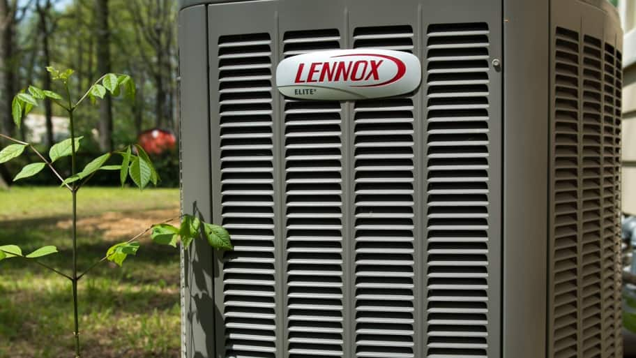 Lennox heat pump unit in yard
