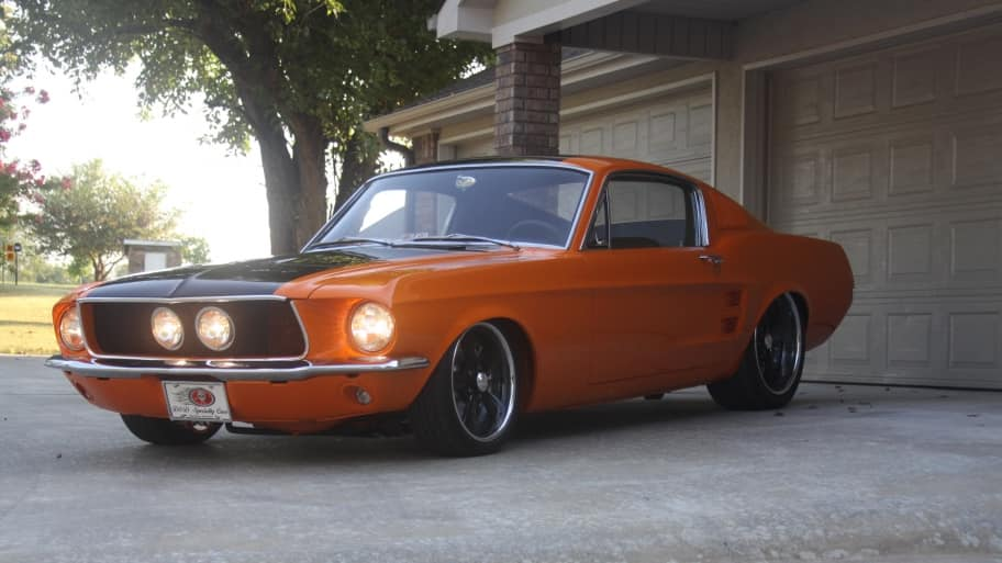 1967 orange and black Mustang GT