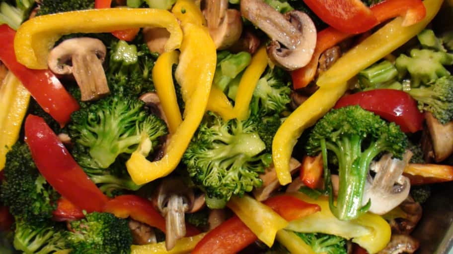 closeup of stir fry vegetables