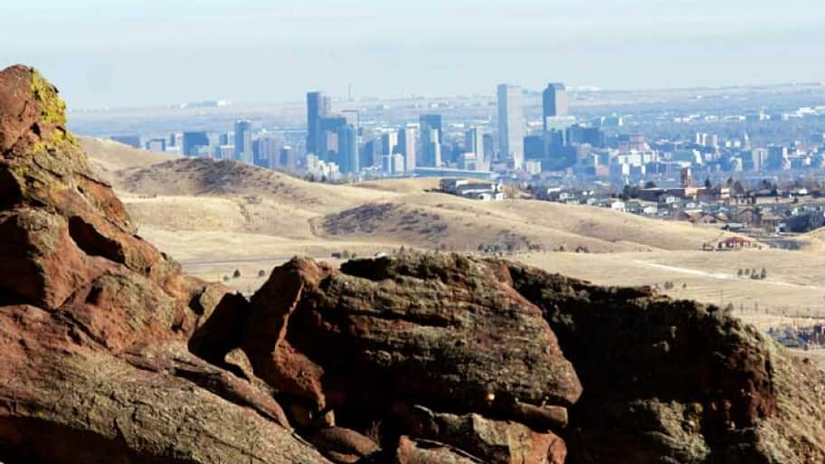 red rock and denver skyline