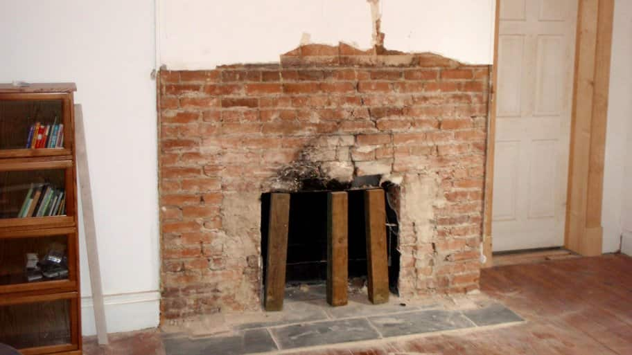 Damage to a house in Louisa County, Virginia, made ared brick fireplace makeoverlikely after a magnitude 5.8 earthquake on August 23, 2011. (Photo by Photo courtesy ofChristopher Swezey / USGS)
