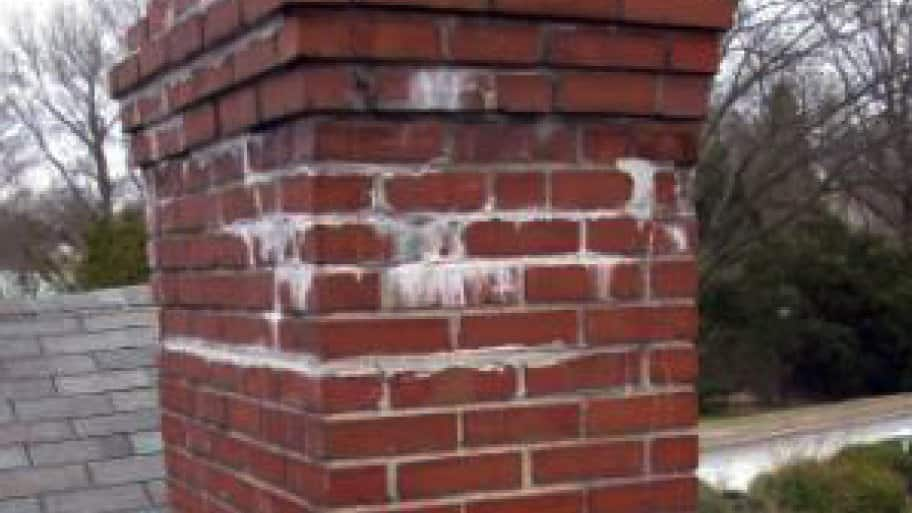 An indication of serious moisture being trapped behind masonry is efflorescence, which appears as a white powder or stain, says Rantanen. (Photo Courtesy of Jamison Home Services, LLC)