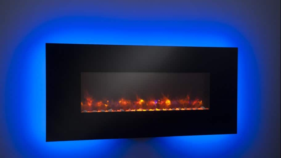 black electric fireplace on blue background