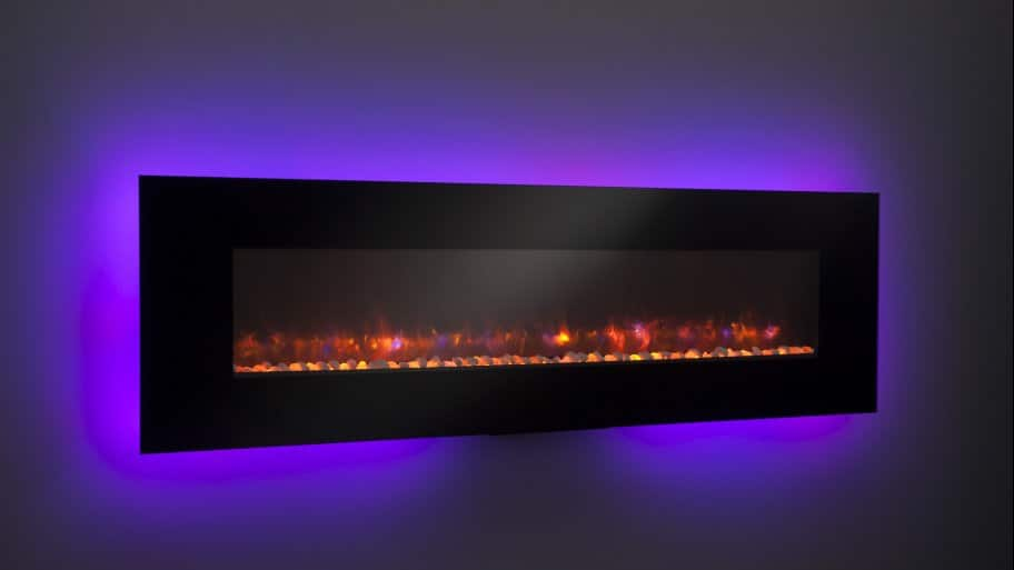 electric fireplace with purple light
