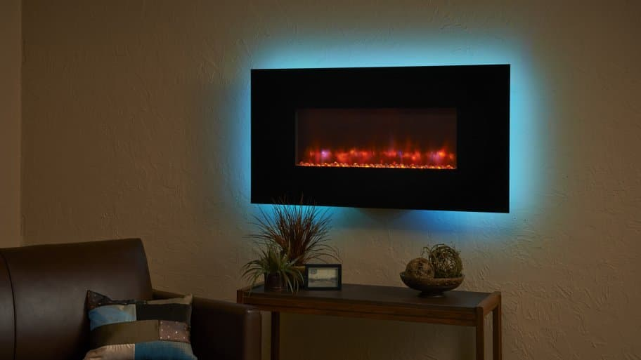 electric fireplace with blue accent light