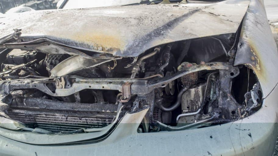 front of car after accident