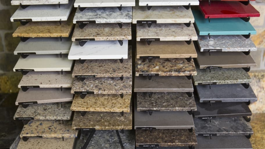 granite countertop samples in a showroom
