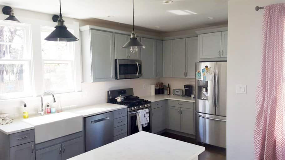 Gray has been a popular neutral color that is now taking over kitchen cabinets. (Photo courtesy of Angie's List member Mike B.)