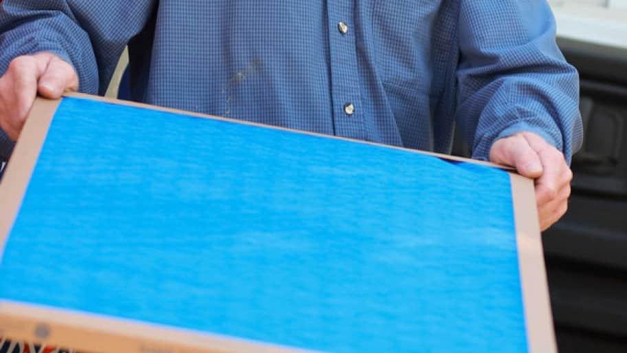 blue flat panel HVAC air filter