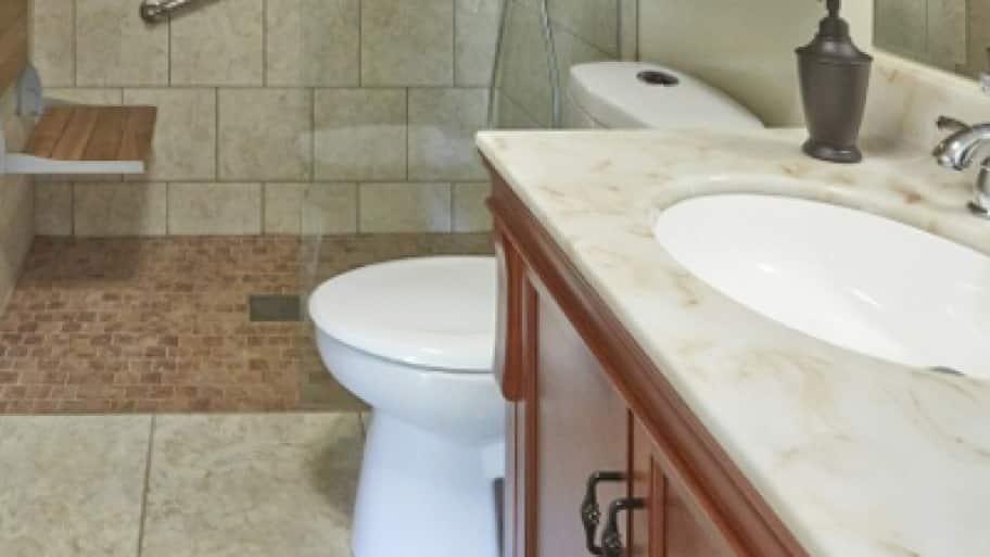 bathroom with grab bars
