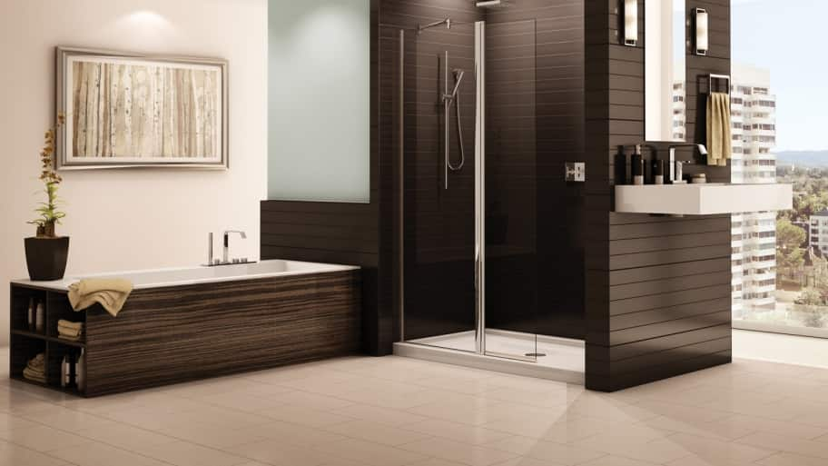bathroom with walk-in shower and separate tub