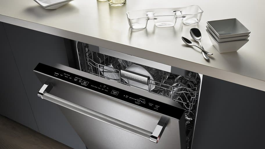 KitchenAid KDTE104ESS Dishwasher, Slightly Open To Show Top Controls