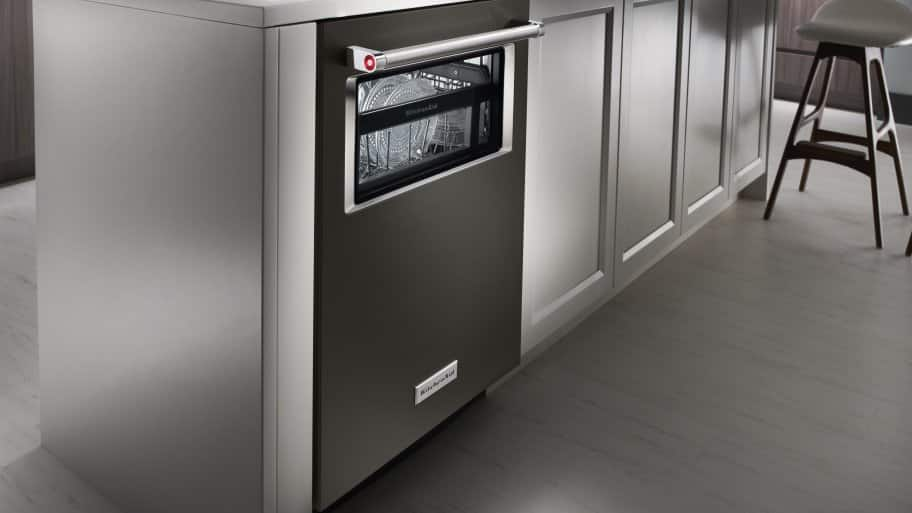 Genial Angled Shot Of KitchenAid KDTM804EBS Dishwasher In Kitchen Island.