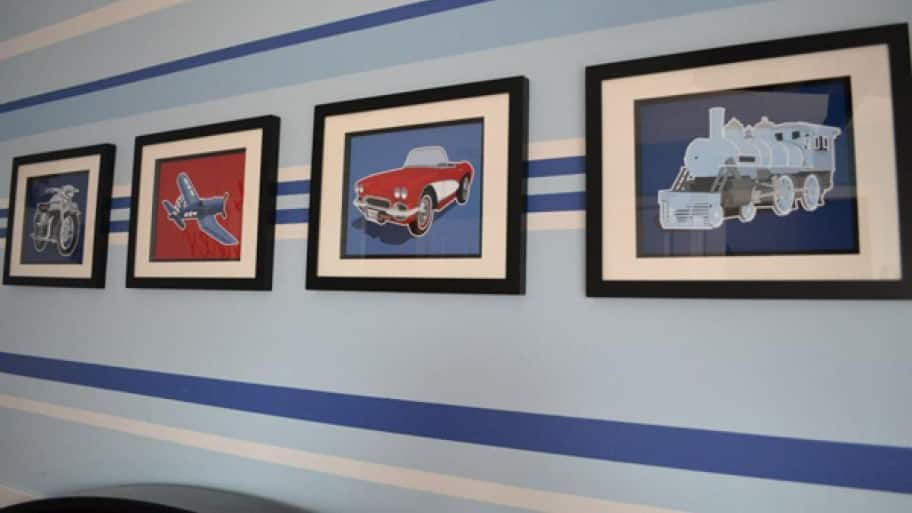 If one of your children loves cars and the other loves trains, consider a general transportation theme instead of choosing one over the other. (Photo courtesy of Aesthete Designs)